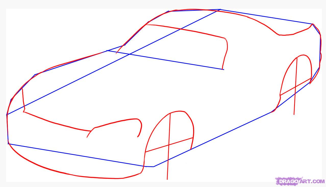 Как нарисовать машину карандашом поэтапно видео для детей