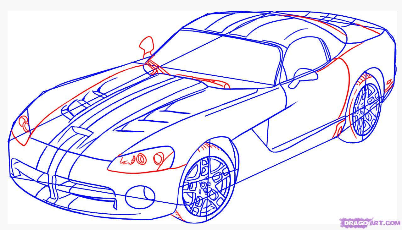 Рисуем автомобиль, машину Dodge Viper