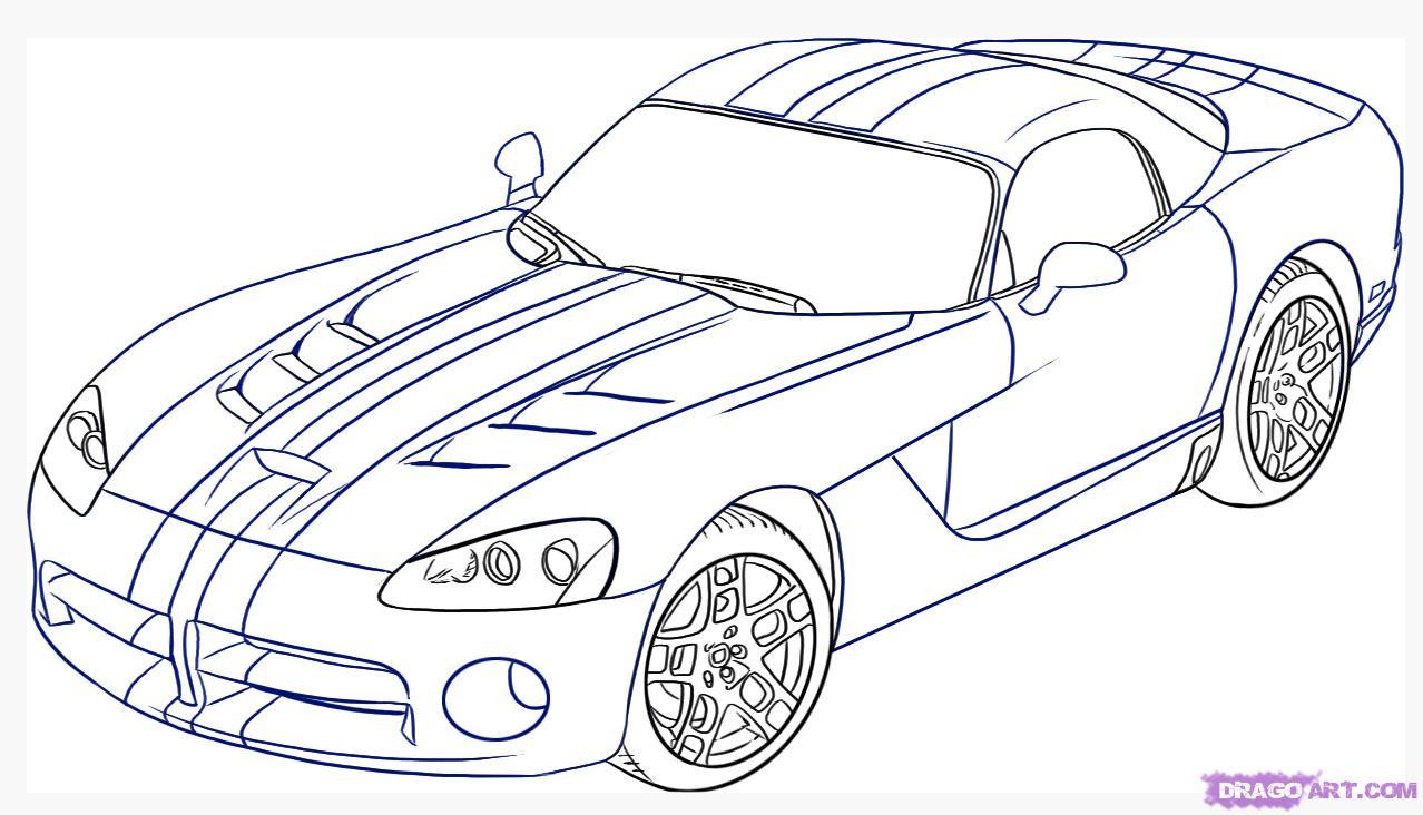 Как нарисовать автомобиль, машину Dodge Viper поэтапно