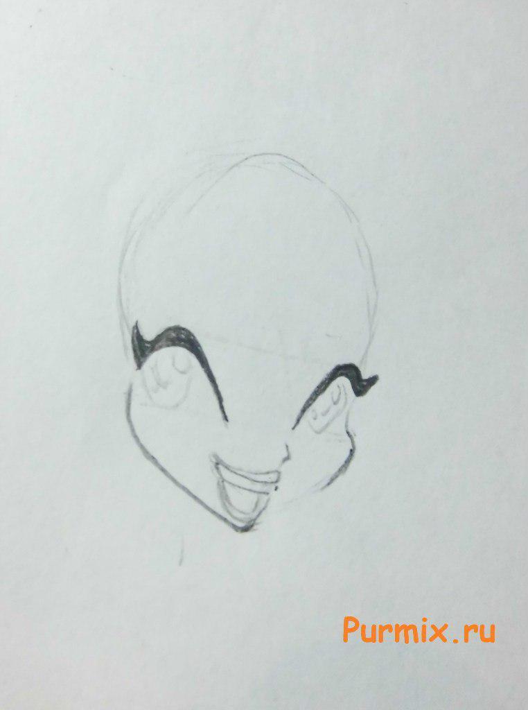 Рисуем Блум из мультсериала Клуб Винкс: Школа волшебниц - шаг 2