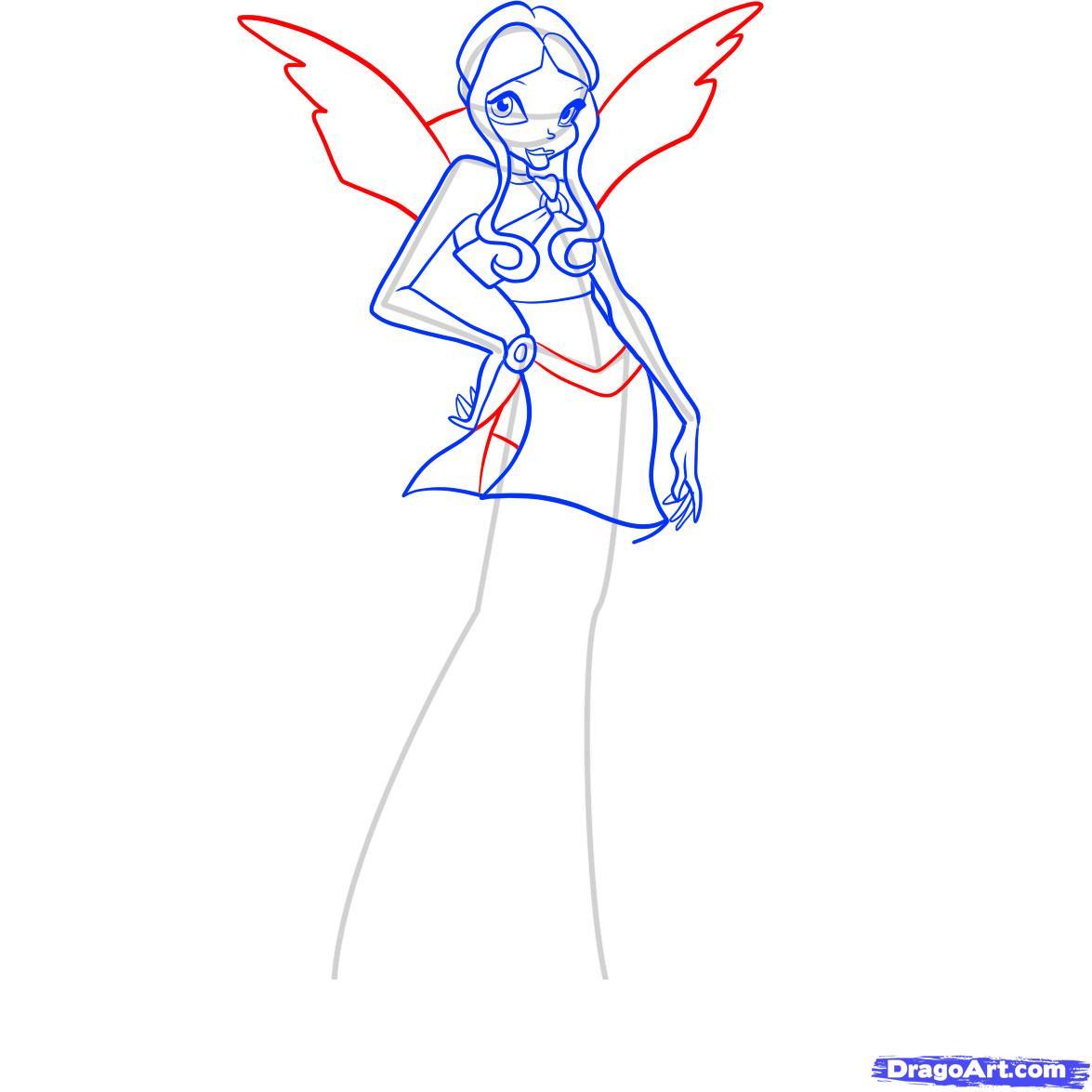 Рисуем фею Лейлу из Винкс - шаг 7