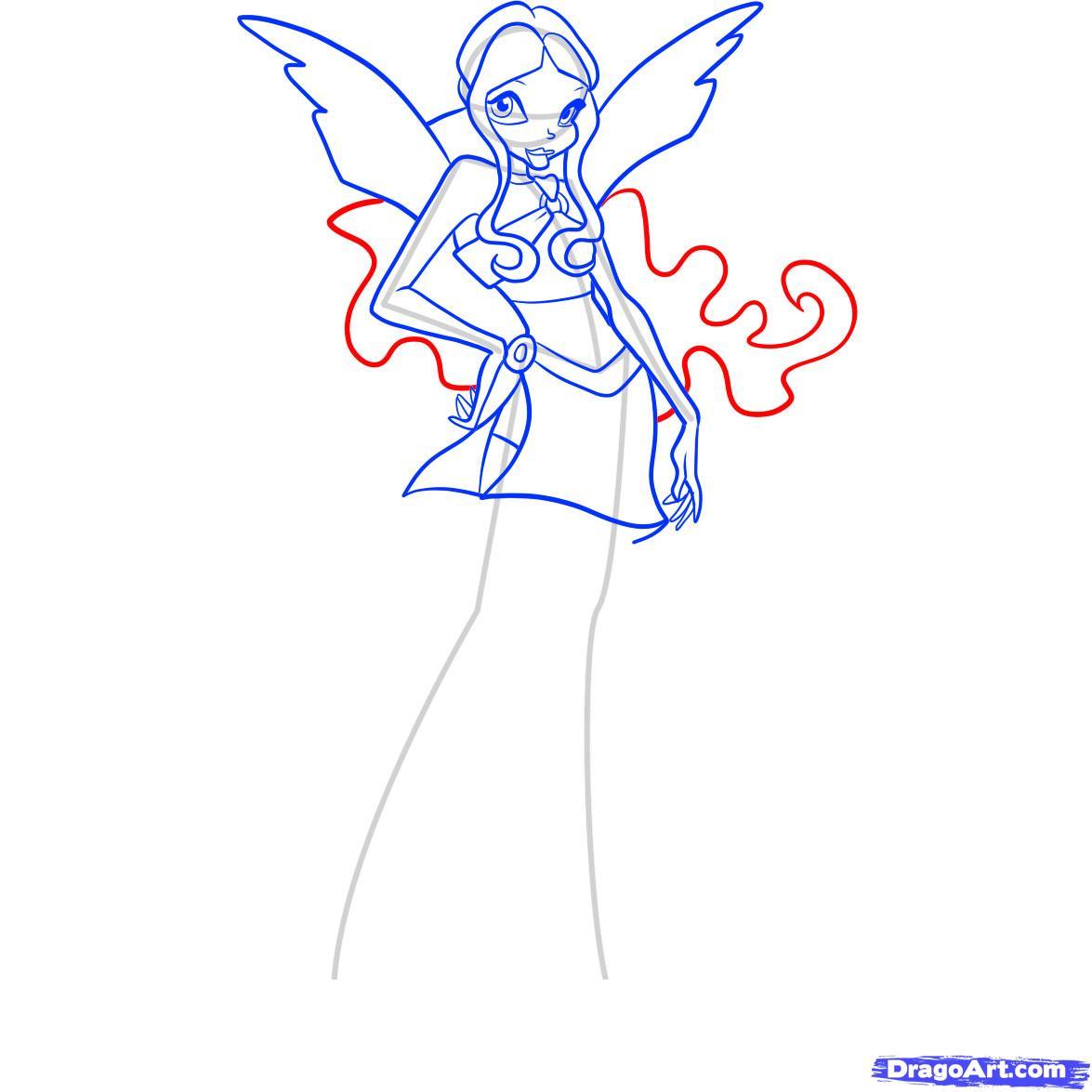 Рисуем фею Лейлу из Винкс - шаг 8