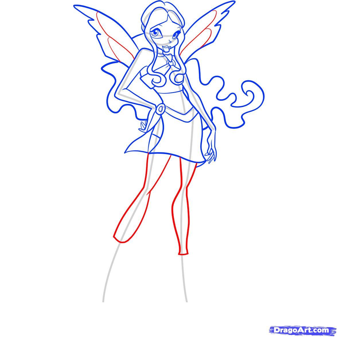 Рисуем фею Лейлу из Винкс - шаг 9