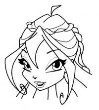 лицо  Блум в полоборота карандашом