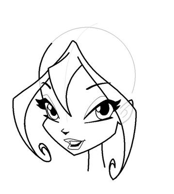 Рисуем лицо Блум в полоборота - шаг 12