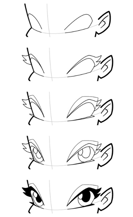 Рисуем лицо  Блум в полоборота - шаг 9