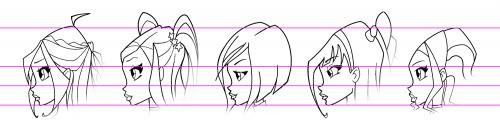 Рисуем лицо Блум в профиль - шаг 4