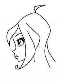 Как нарисовать лицо Блум в профиль карандашом поэтапно