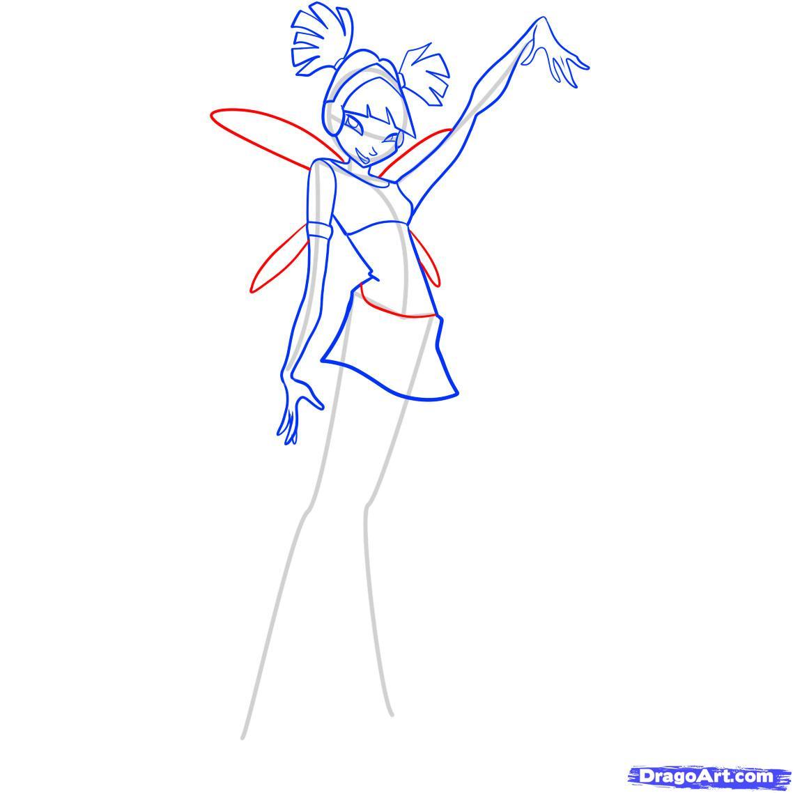 Как нарисовать Музу(Muza) из клуба Винкс(Winx) поэтапно