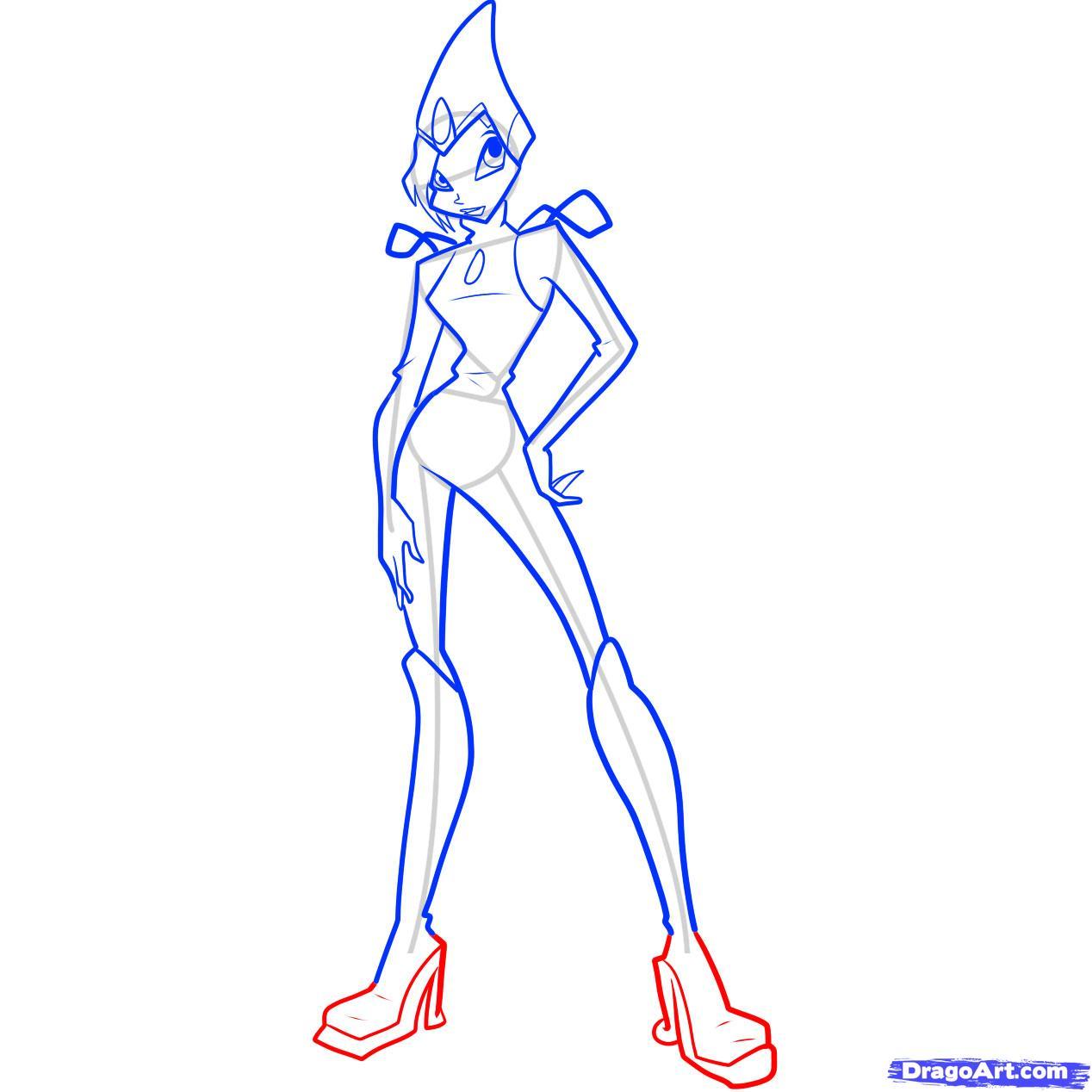 Рисуем Текну из мультфильма Winx - шаг 10