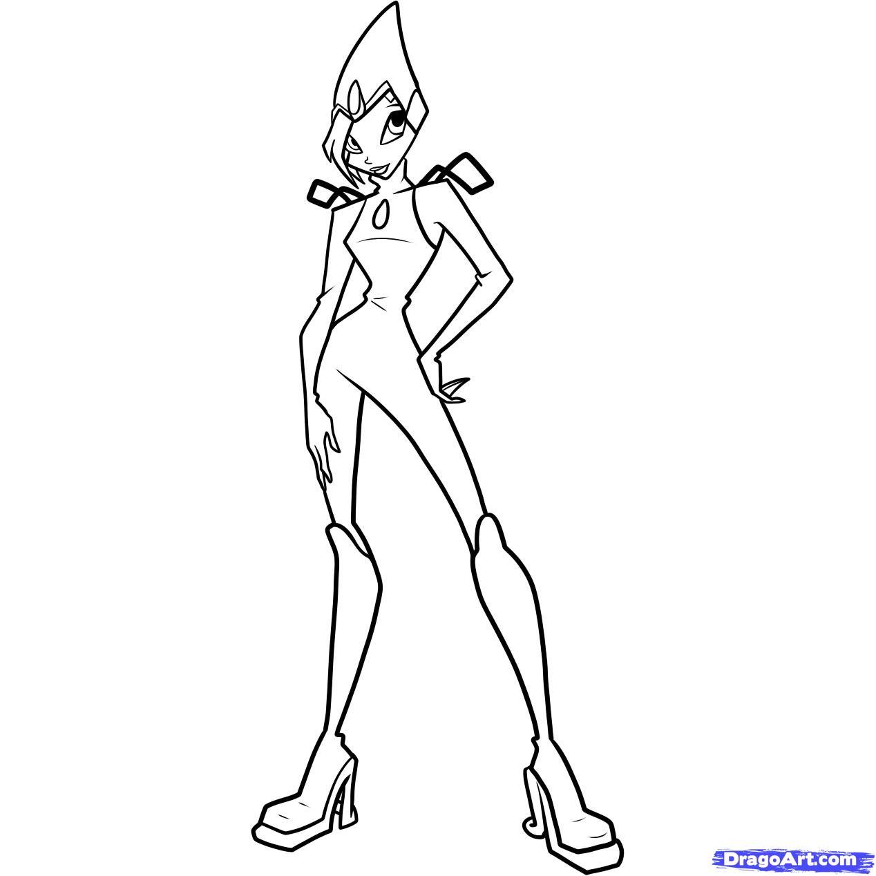 Рисуем Текну из мультфильма Winx - шаг 11