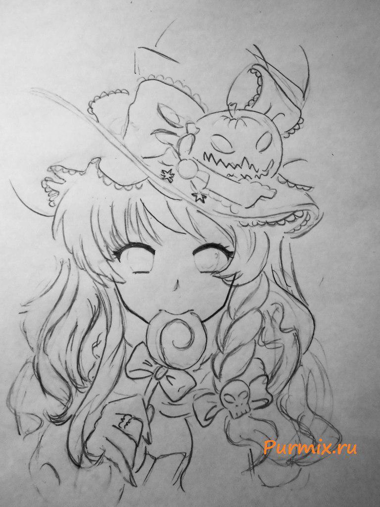 Рисуем аниме ведьмочку на хэллоуин простым - фото 4