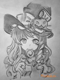 аниме ведьмочку на хэллоуин простым карандашом