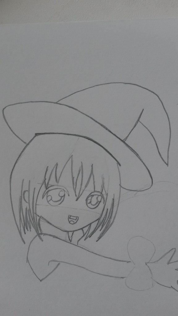 Как нарисовать чиби девочку с тыквой на хэллоуин карандашом