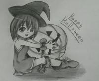 чиби девочку с тыквой на хэллоуин карандашом
