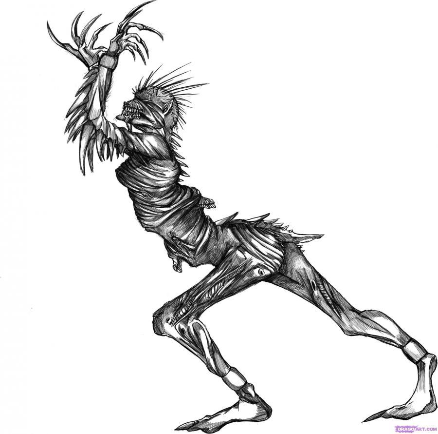Рисуем демона на Хэллоуин на бумаге