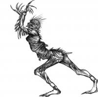 демона на Хэллоуин на бумаге карандашом