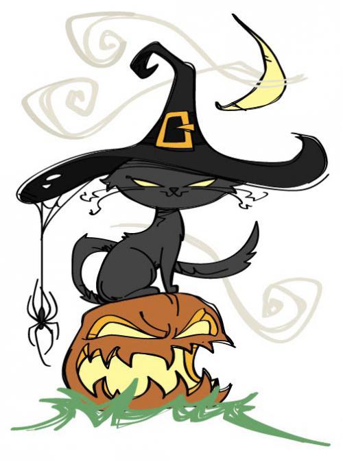 Как нарисовать кота и тыку на хэллоуин простым карнадшом