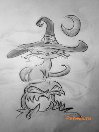 Как нарисовать кота и тыкву на хэллоуин простым карандашом