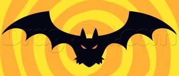 Рисуем летучую мышь на хэллоуин