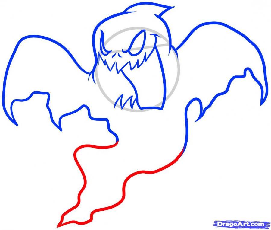 Рисуем призрака на Хэллоуин - шаг 7