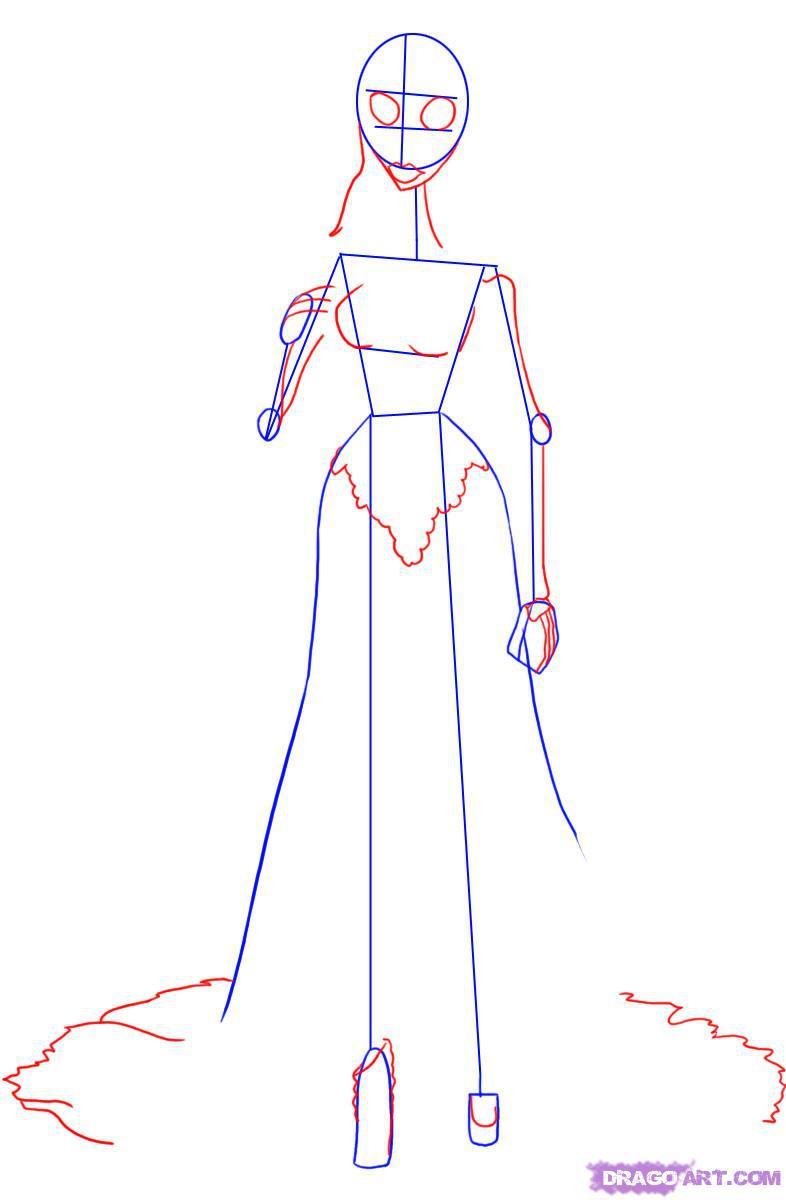 Как нарисовать Труп невесты карандашом поэтапно