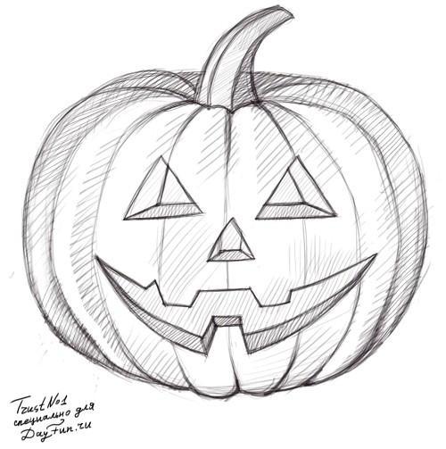 Рисуем тыкву на хэллоуин - шаг 4