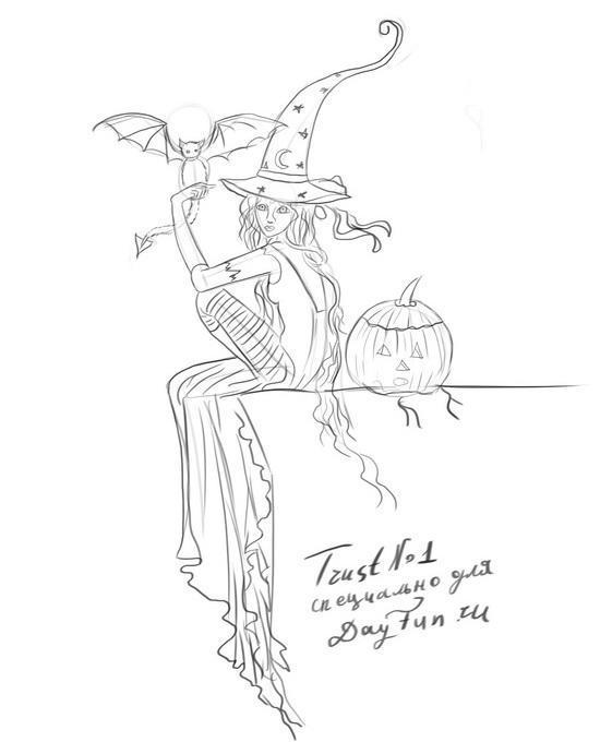 Рисуем ведьму с летучей мышей и тыквой - фото 4