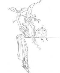 ведьму с летучей мышей и тыквой