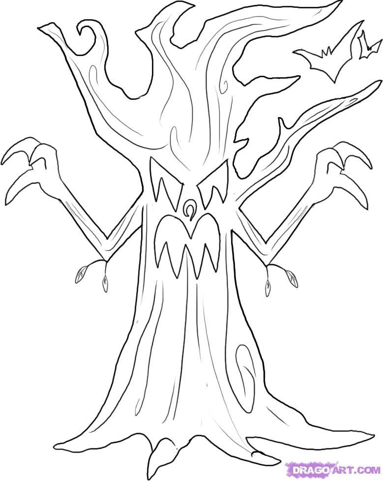 Рисуем злое дерево на Хэллоуин
