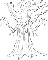 злое дерево на Хэллоуин карандашом