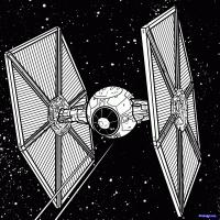 TIE-Истребитель  из Star Wars карандашом
