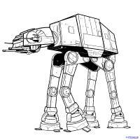 боевую машину AT-AT из Star Wars  карандашом