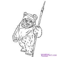Как нарисовать Эвока из Star Wars  карандашом поэтапно