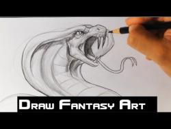 Как нарисовать кобру карандашом видео