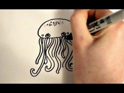 Как быстро и просто нарисовать медузу ребенку видео урок