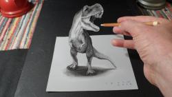 Как нарисовать 3D Динозавра карандашом видео урок