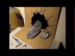 Как нарисовать 3D дракона на бумаге видео урок