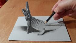 Как нарисовать 3D Крокодила карандашом видео урок