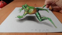 Как нарисовать 3D лягушку в прыжке на бумаге видео урок