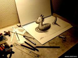 Как нарисовать 3D Несси карандашом на бумаге видео урок
