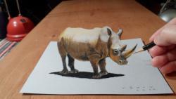 Как нарисовать 3D носорога на бумаге видео урок