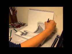 Как нарисовать 3D руку карандашом видео урок