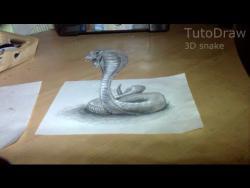 Как нарисовать 3D змею на бумаге  видео урок