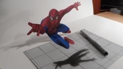 Как нарисовать 3д человека-паука в прыжке видео урок