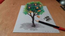 Как нарисовать 3Д Дерево на бумаге видео урок