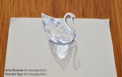 Как нарисовать 3Д кристалл Сваровски в форме лебедя видео урок