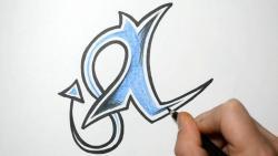 Как нарисовать английскую букву I в диком стиле видео урок