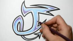 Как нарисовать английскую букву J в диком стиле видео урок