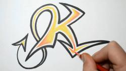 Как нарисовать английскую букву K в диком стиле видео урок